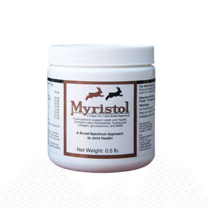 Myristol for rabbits reduces stiffness and decreased activity in older rabbits.